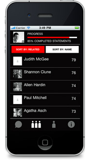 Emerge Interactive's web app for TEDx, built with Sencha Touch. Shown running on an Apple iPhone 4.